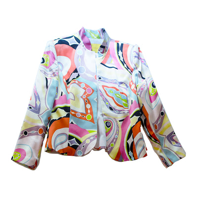1990s Pop Art Silk Jacket - Blazer, Size 14 by Flores & Flores