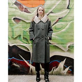 Fox Trimmed Gray Wool Coat 2 by Muse's Townley, Forstman Stevens Fabric