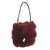 Red Rabbit Fur Rosette Handbag, Drawstring Closure, dyed rabbit purse