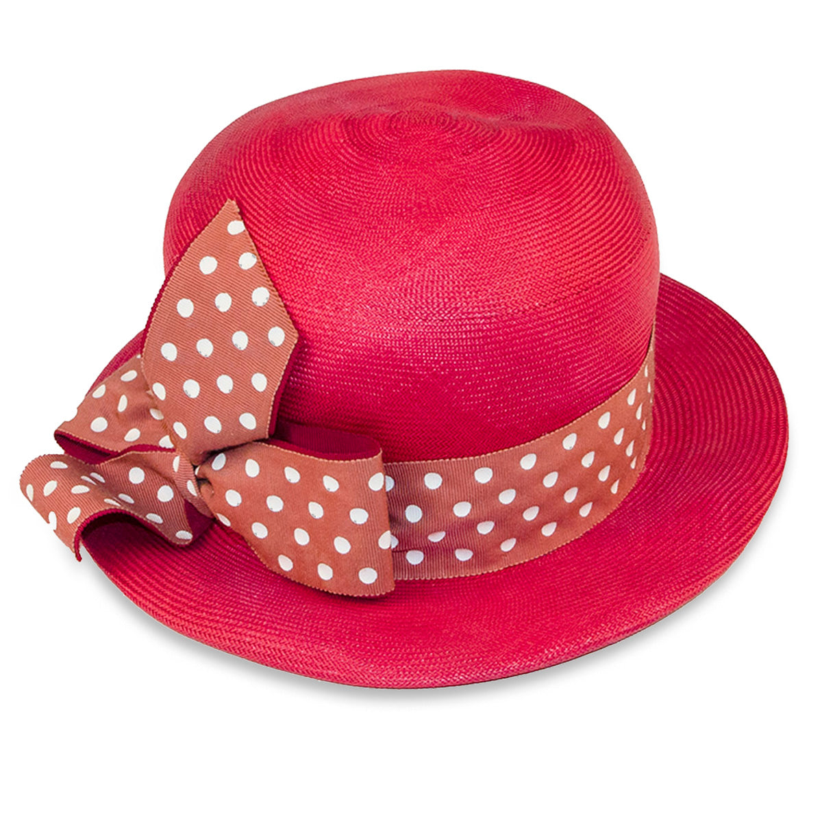 Vintage Red Straw Hat Polka Dot Hatband & Bow