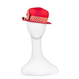 Red Straw Hat Polka Dot Ribbon