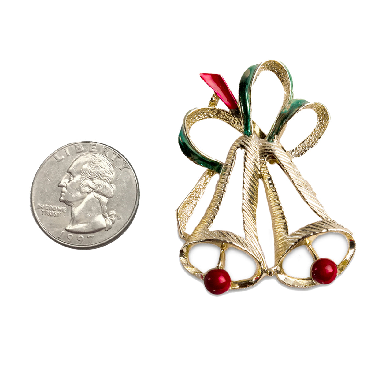 gerry's christmas bell brooch, christmas bell pin