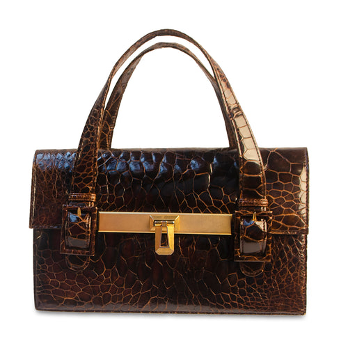 Rare Gill Madrid Brown Crocodile Handbag