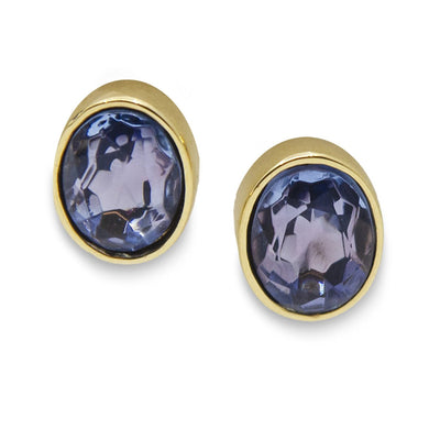 Givenchy Blue Crystal & Gold Plate Stud Earrings