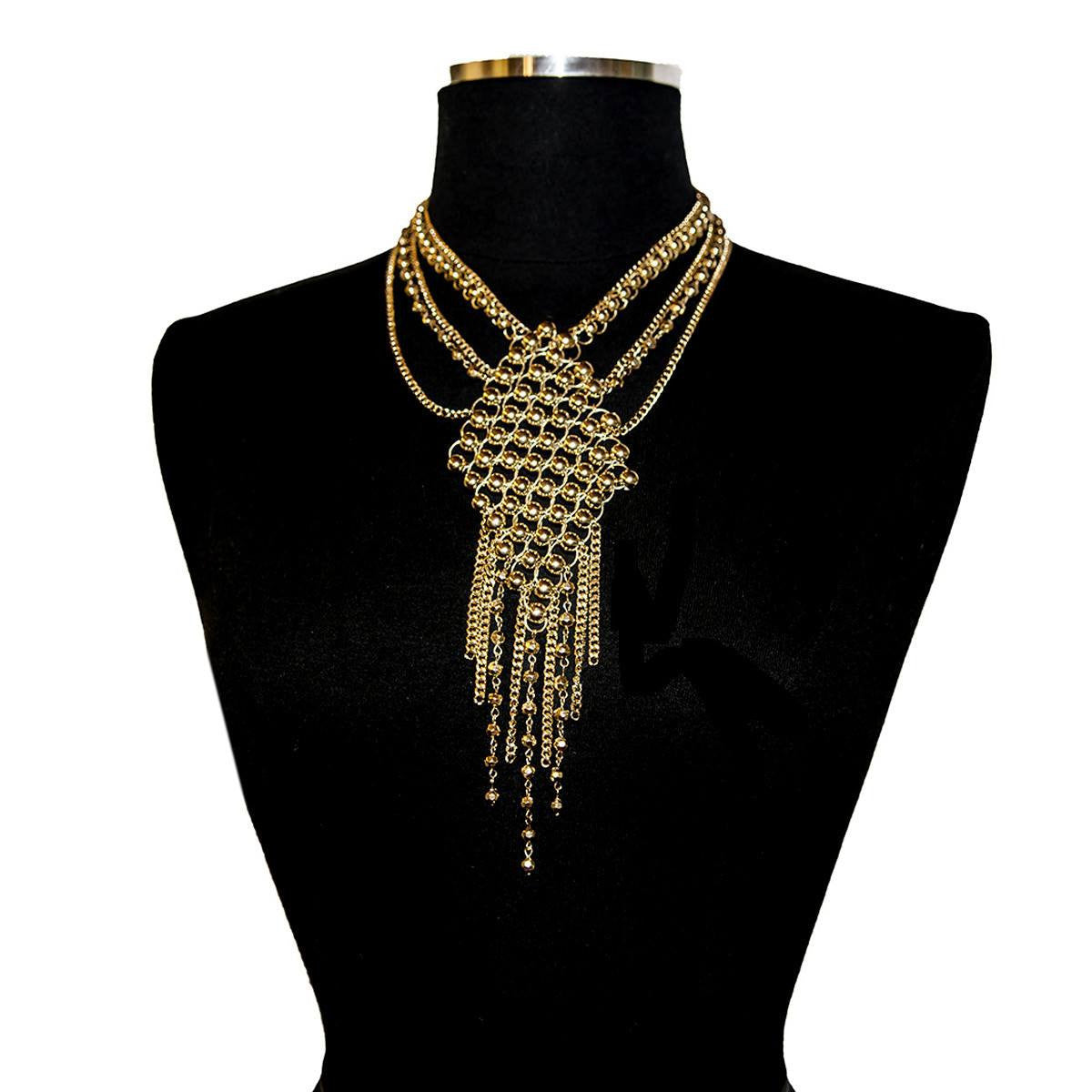 Gold Chain & Bead Bib Necklace, Nieman Marcus New Old Stock 3