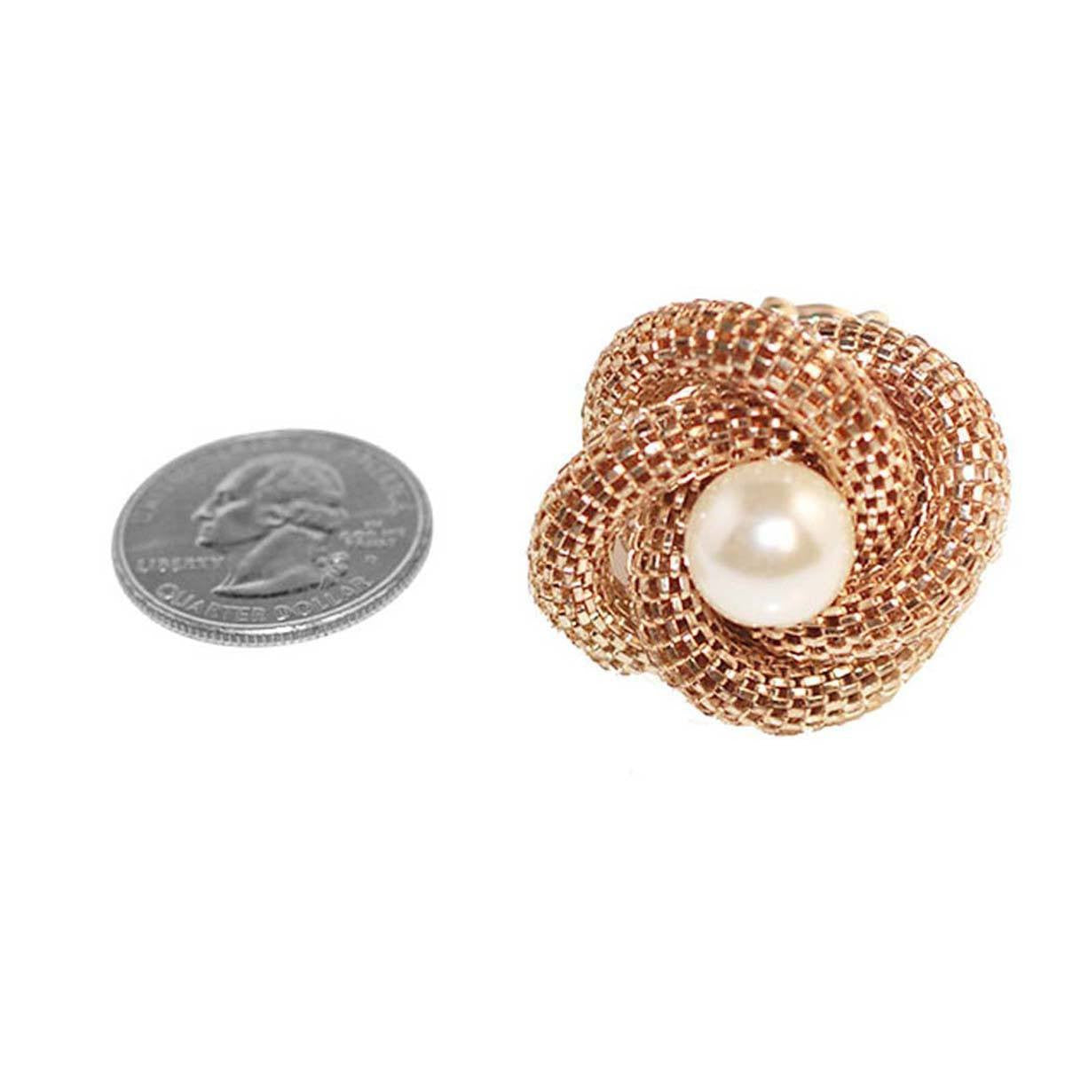 Gold Mesh Knot Ring 3, Faux Pearl Center, Adjustable
