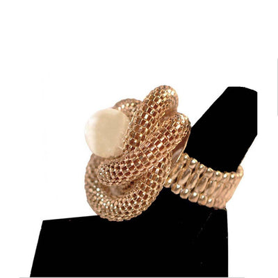 Gold Mesh Knot Ring 2, Faux Pearl Center, Adjustable