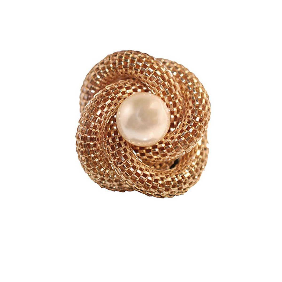 Gold Mesh Knot Ring, Faux Pearl Center, Adjustable