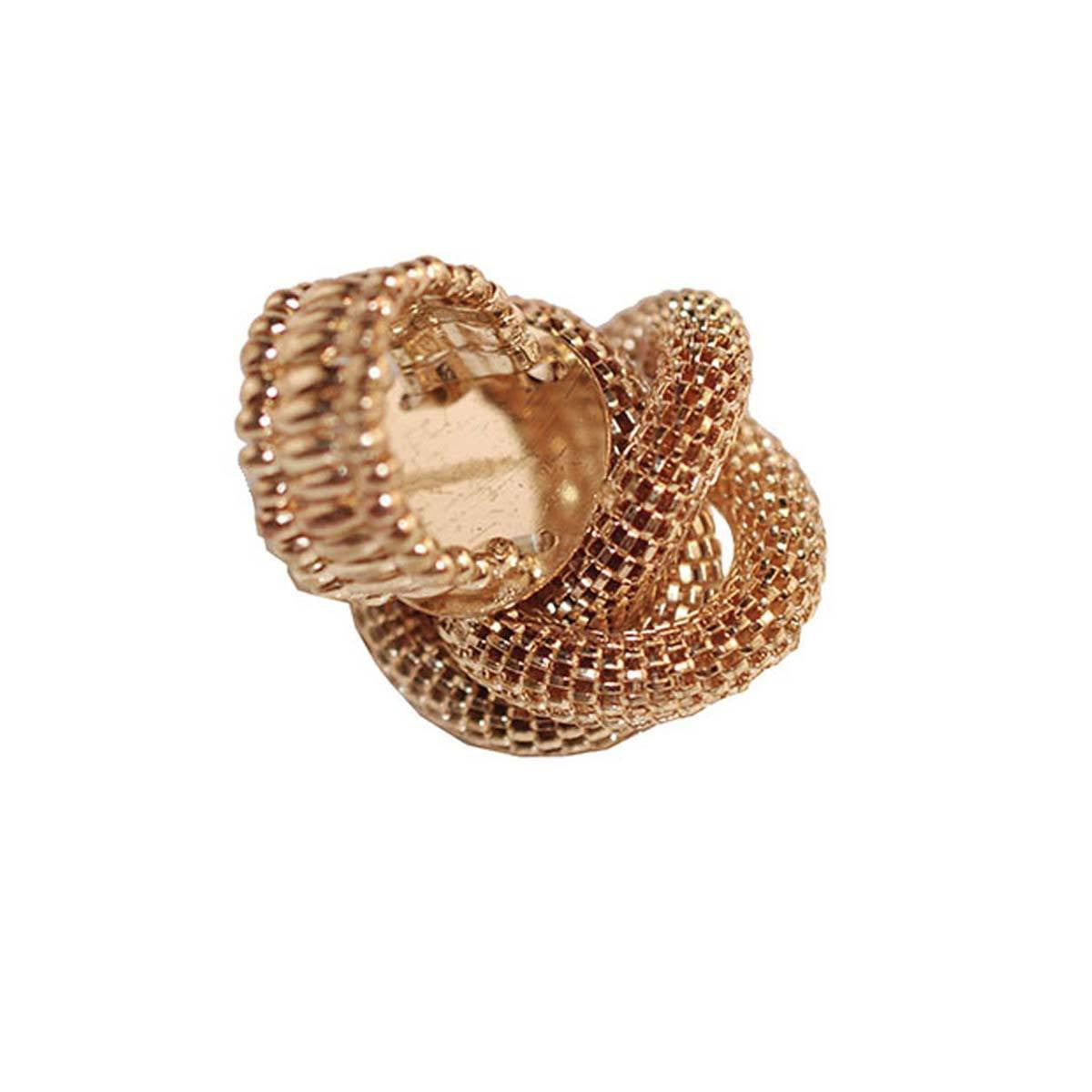 Gold Mesh Knot Ring 4, Faux Pearl Center, Adjustable