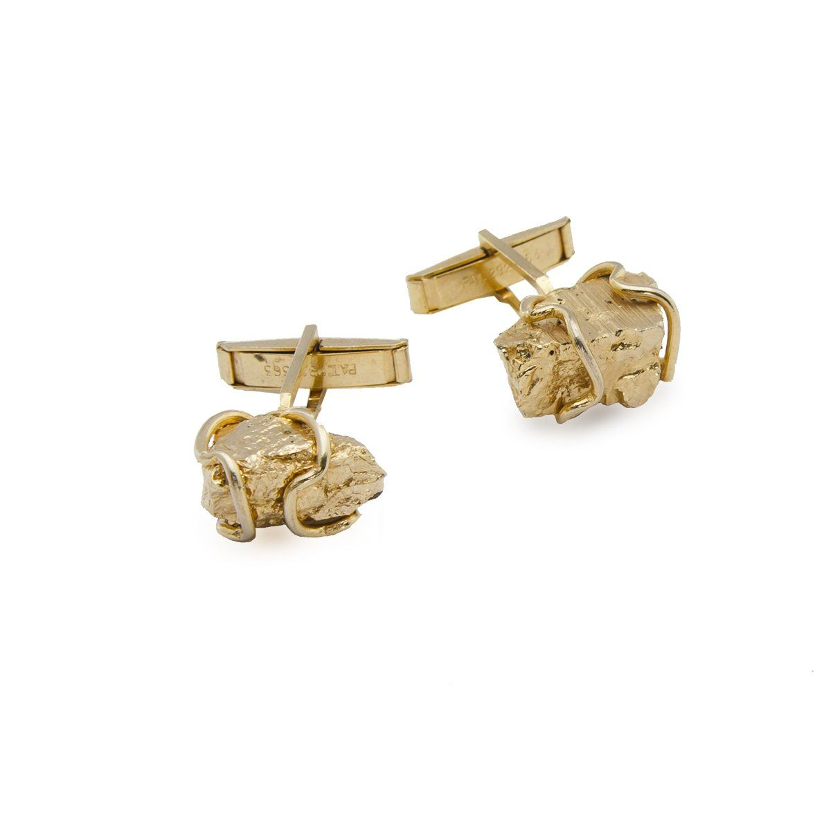 Harvey Avedon Gold Metal Nugget Cuff Links