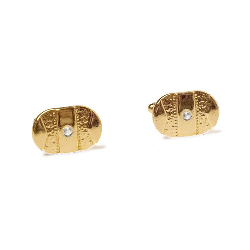 Mid-Century Gold Oval Cuff Links with Rhinestone Centers