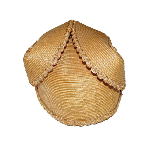 Vintage Gold Folded Straw Hat 2, Ric Rac Trim