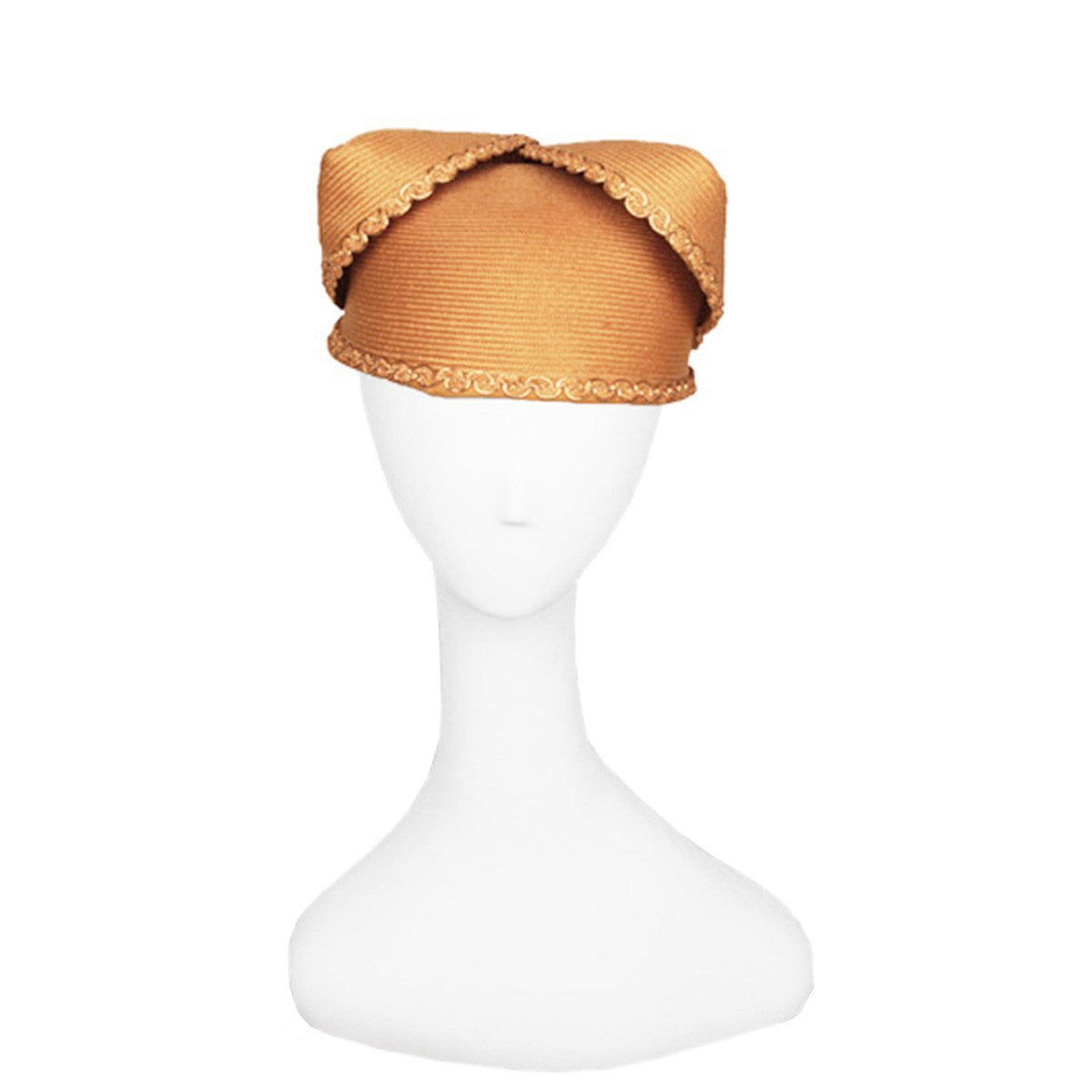 Vintage Gold Folded Straw Hat, Ric Rac Trim