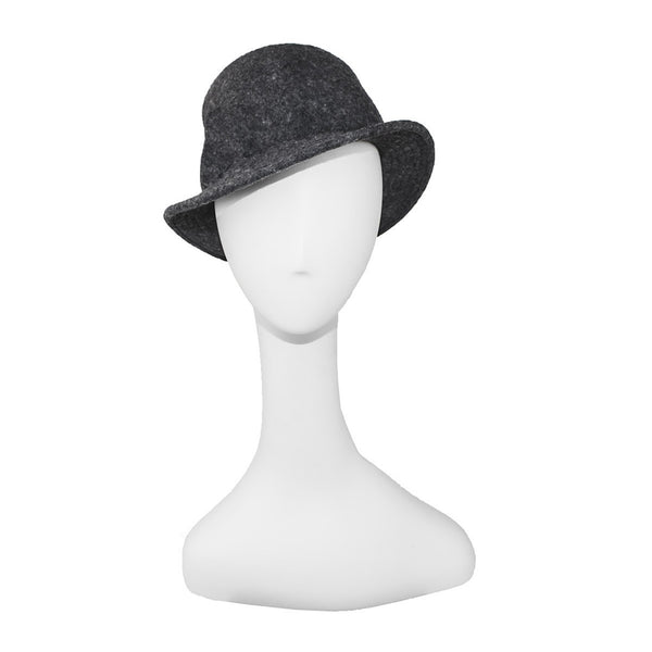Ladies Gray Flannel Fedora, Winter Wool Hat, Top Stitched Brim