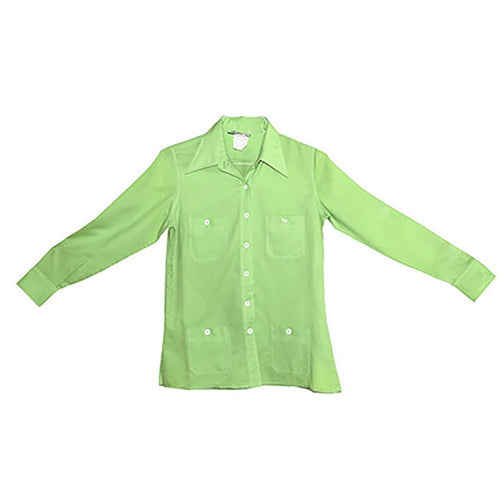 Vintage 1970s Green Polyester Shirt, top stitching