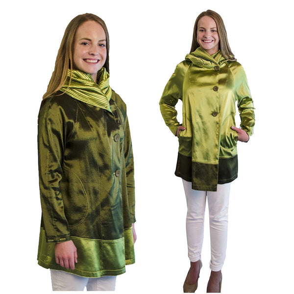 Vintage 1990s Reversible Green Jacket, Shawl Collar, Self-Hood