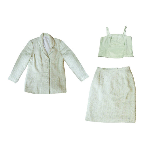 Vintage Ladies Three Piece Suit, Green Silk Boucle Size 14-16