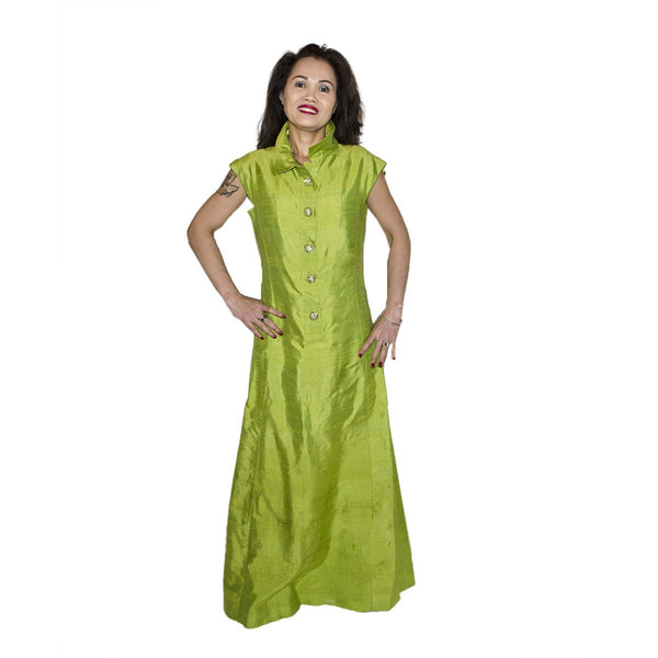 1970s Green Silk Shantung Evening Gown, Rhinestone Buttons