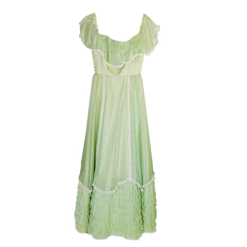Vintage 70s Lime Green Long Dress, Southern Belle Style