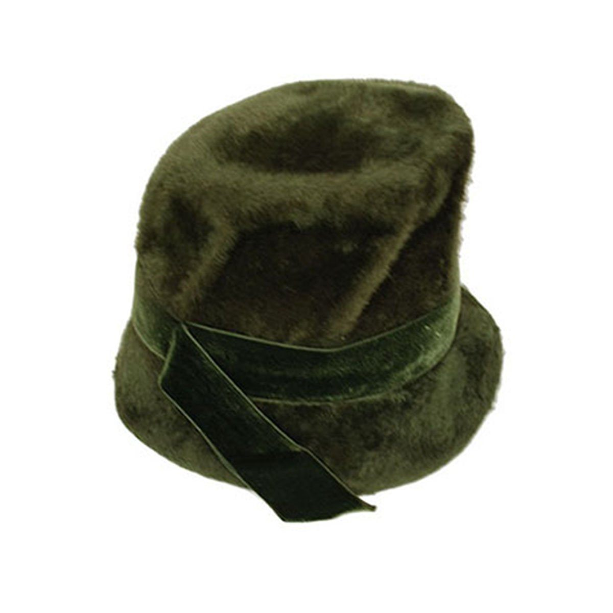 Saks Fifth Avenue 60s Mod Green Bucket Hat, Faux Fur