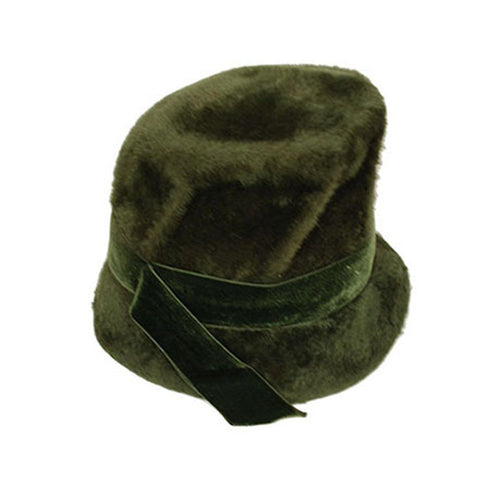 Saks Fifth Avenue 60s Mod Green Bucket Hat, Faux Fur Hat