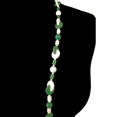 Green, White Geometric Beads 5