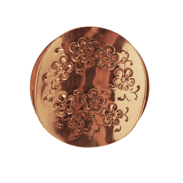 Mid Century Copper Brooch by Gret Barkin, Etched Floral Design
