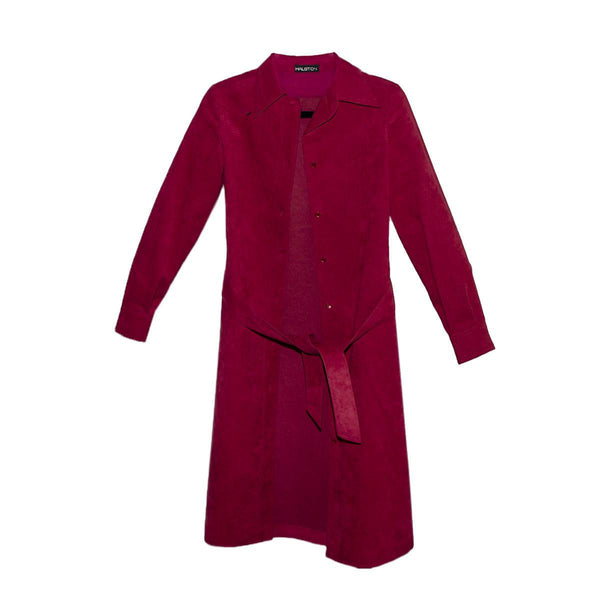 1970s Halston Ultrasuede Trench Coat, Dark Red, Matching Belt