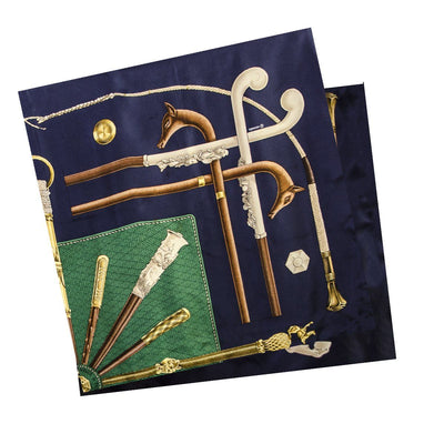 Vintage Hermes Silk Scarf 2, Walking Sticks, Cannes et Pommeaux, Françoise De La Perriere, Navy Blue & Green