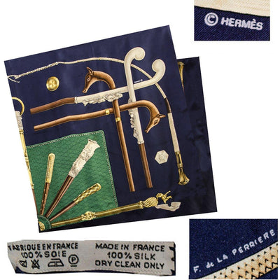 Vintage Hermes Silk Scarf 4, Walking Sticks, Cannes et Pommeaux, Françoise De La Perriere, Navy Blue & Green