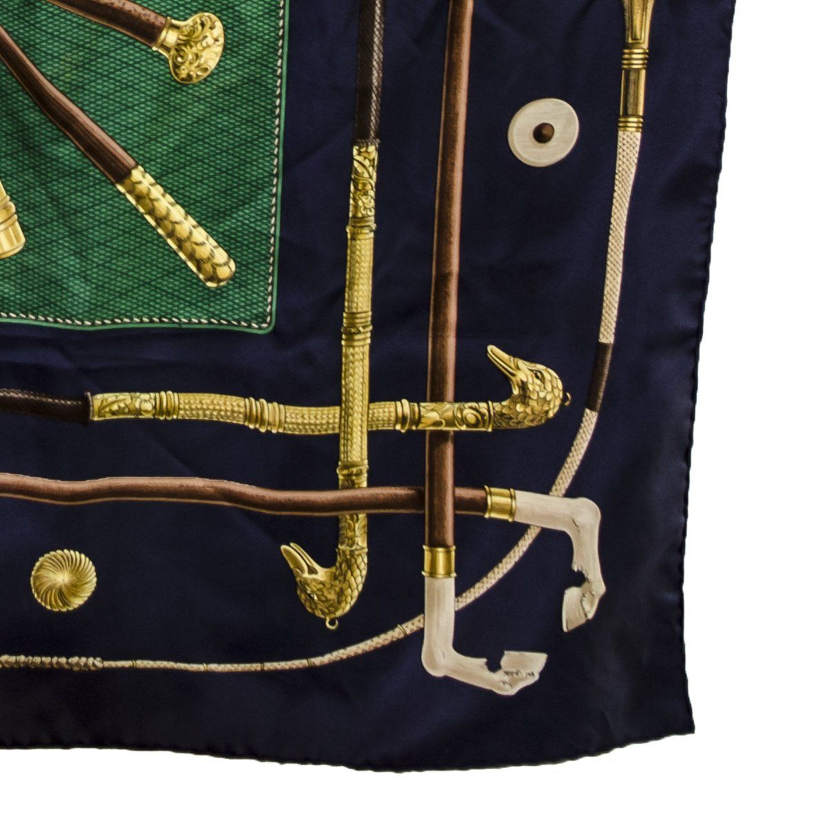 Vintage Hermes Silk Scarf 5, Walking Sticks, Cannes et Pommeaux, Françoise De La Perriere, Navy Blue & Green