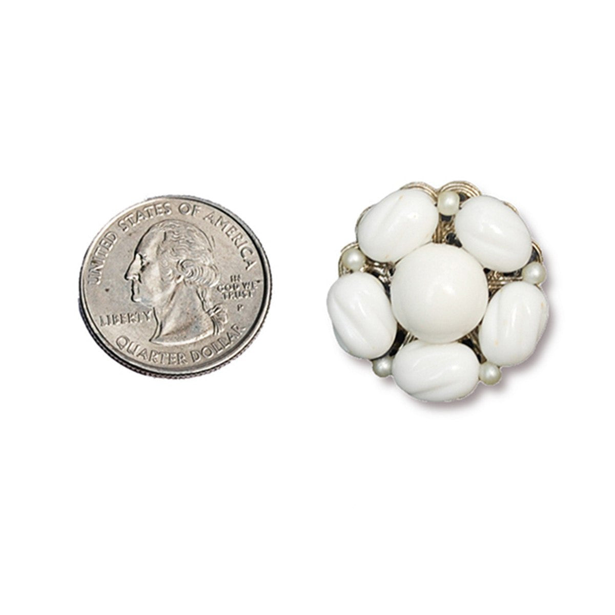 1950s Milk Glass Cluster Bead Earrings by Hobe 5