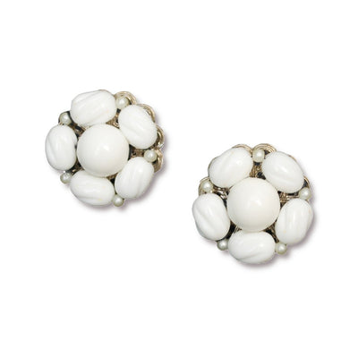 1950s Milk Glass Cluster Bead Earrings by Hobe