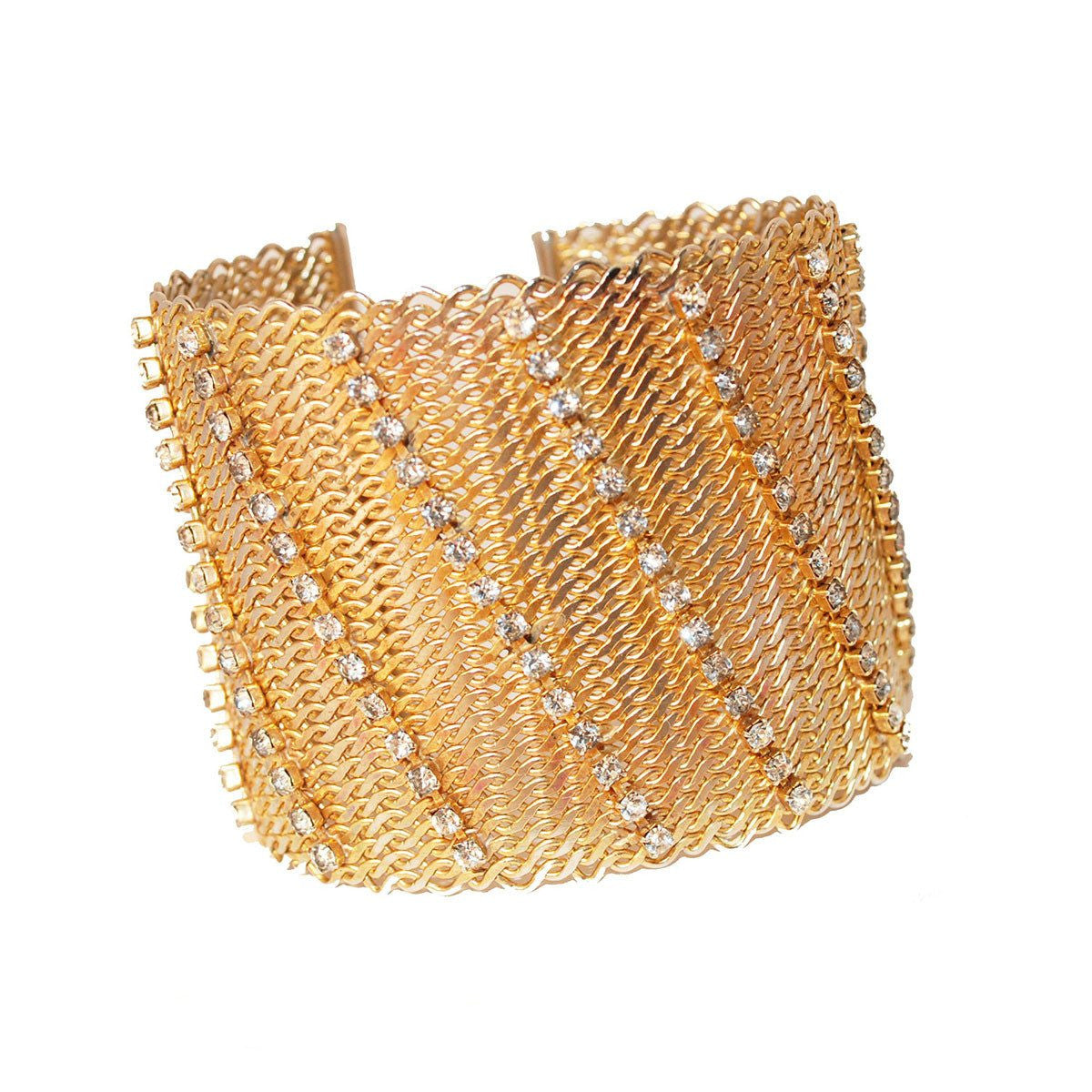 Mid Century Cuff Bracelet by Hobe, Rhinestones on Gold Metal Mesh