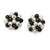 Vintage 1950s Cluster Bead Earrings, Black Beads & Faux Pearls