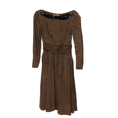 1950s Jean Lane Original Wool Jersey Dress, Orange & Brown Polka Dot, Size Small