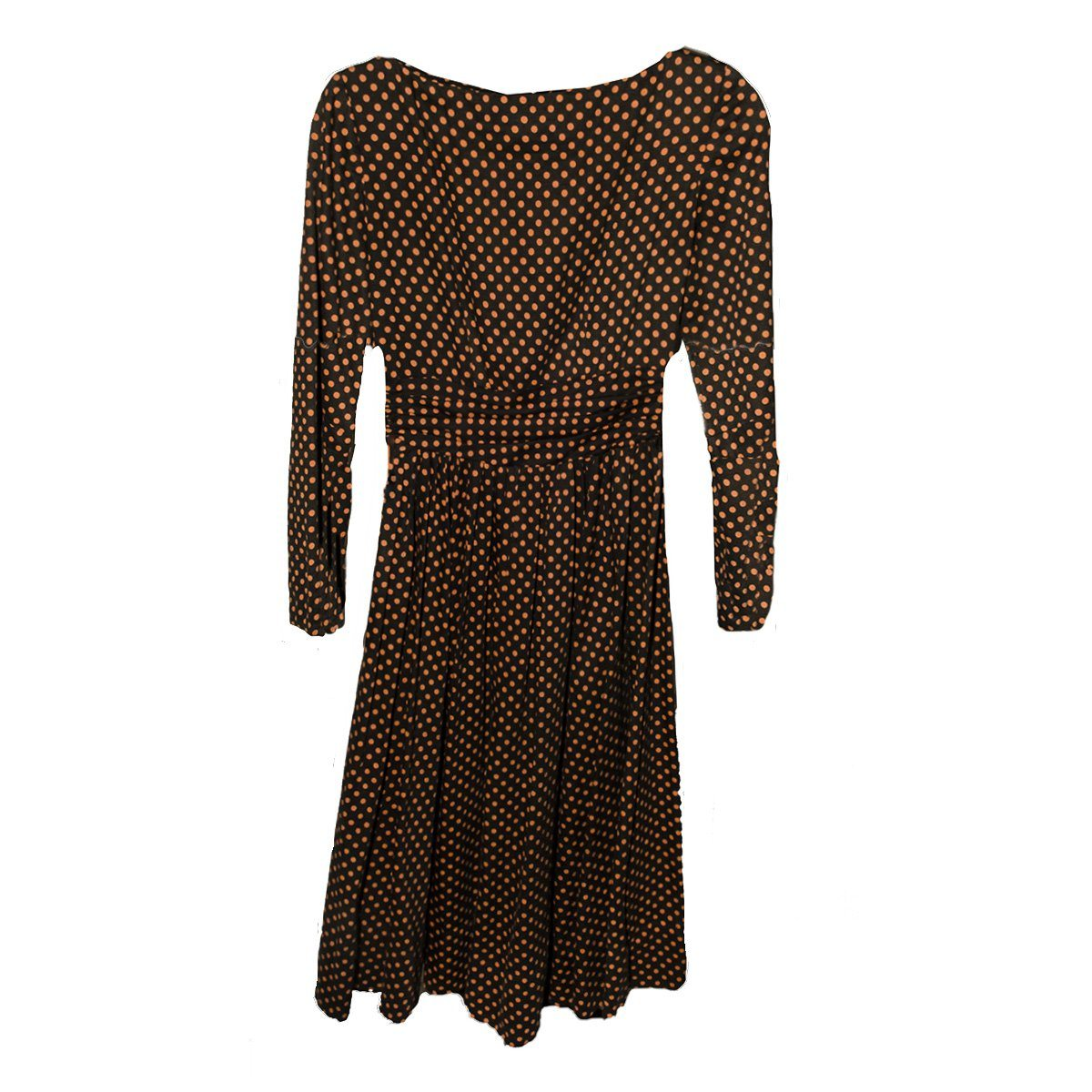 1950s Jean Lane Original Wool Jersey Dress 4, Orange & Brown Polka Dot, Size Small