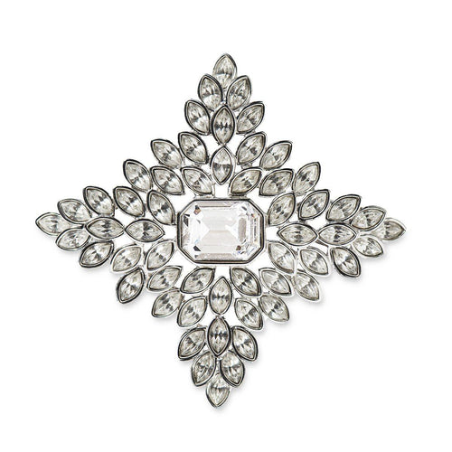 Jackie O Crystal Cruciform Brooch by Kenneth Jay Lane