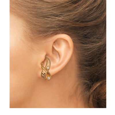 Kramer Pearl & Gold Ribbon earrings 2