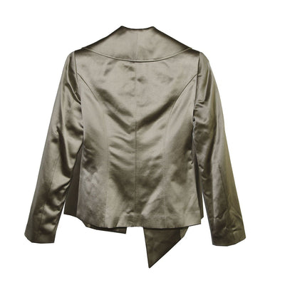 Vintage Krizia Jacket, Asymmetric Design, Tan Silk/Cotton Blend, Size 38