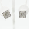 Loose crystals, silver earrings, square earrings, crystal earrings