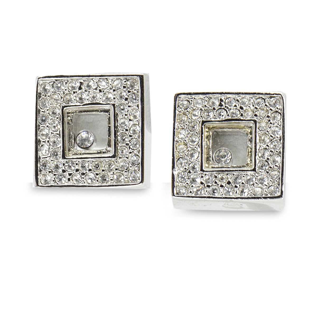 Vintage 90s Square Crystal Pierced Earrings, rhinestone earrings