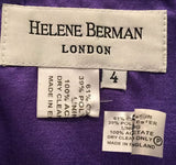 1990s Purple Cocktail Dress 6 by Helene Berman London, Size 4