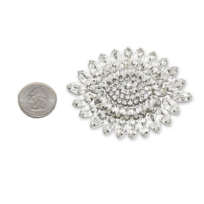 Large Rhinestone Oval Brooch 3, Art Deco Design