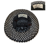 Vintage 1960s Leslie James Black & White Wide Brim Hat 6, Straw Netting & Dingle Balls