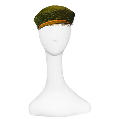Vintage 1960s Pillbox Hat 2 by Leslie James, Green & Yellow Wool Felt