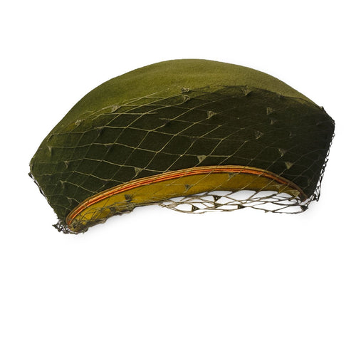 Olive green hat, vintage hats, 1950s hat, 50s hat, hat with netting