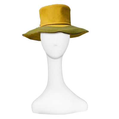 Vintage 60s Mod Wide Brim Hat 5 by Leslie James, Green & Yellow Wool Felt