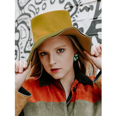 Vintage 60s Mod Wide Brim Hat 4 by Leslie James, Green & Yellow Wool Felt