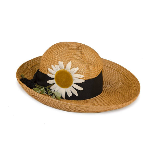 1960s Natural Straw Breton Hat by Leslie James, Large Silk Daisy on Hatband, Hat Size 21